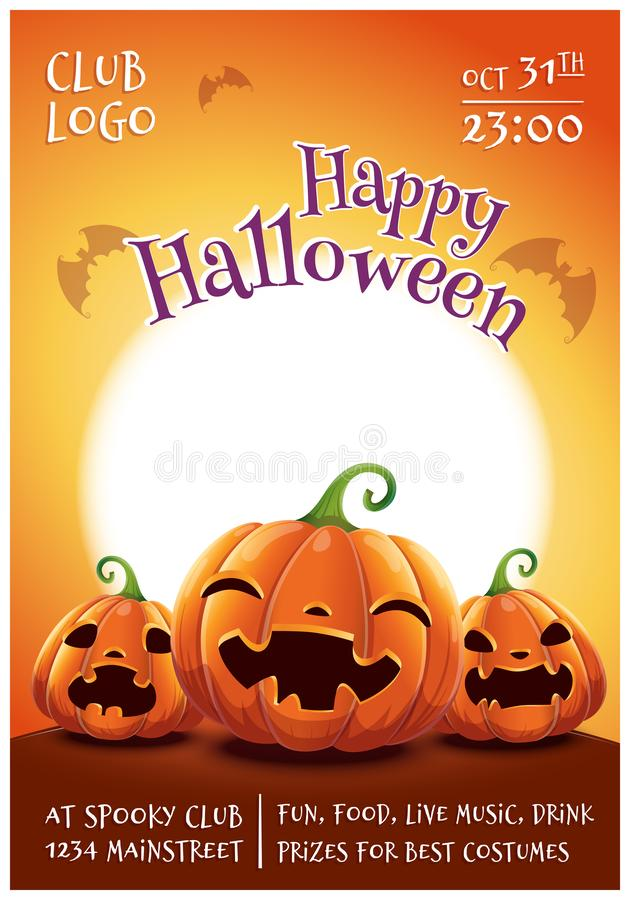 Cartel editable del feliz Halloween con las calabazas sonrientes, asustadas y enojadas en fondo anaranjado con la Luna Llena Feli ilustración del vector