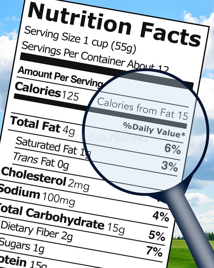 Cartel educativo de la etiqueta de los hechos de la nutrición stock de ilustración