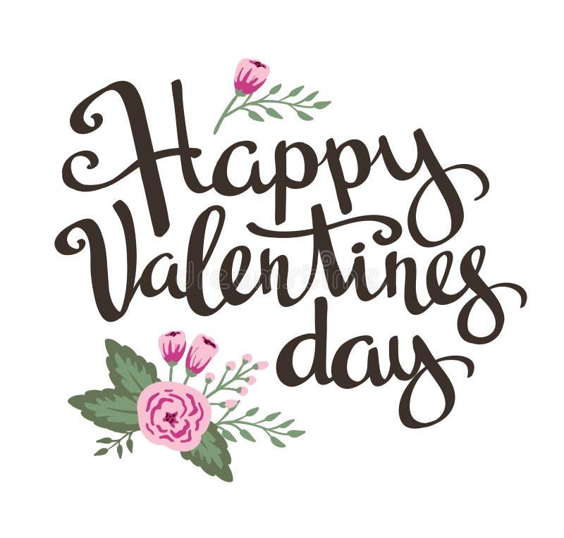 Cartel elegante del amor con las flores Vector del vintage que pone letras al día de tarjeta del día de San Valentín feliz stock de ilustración