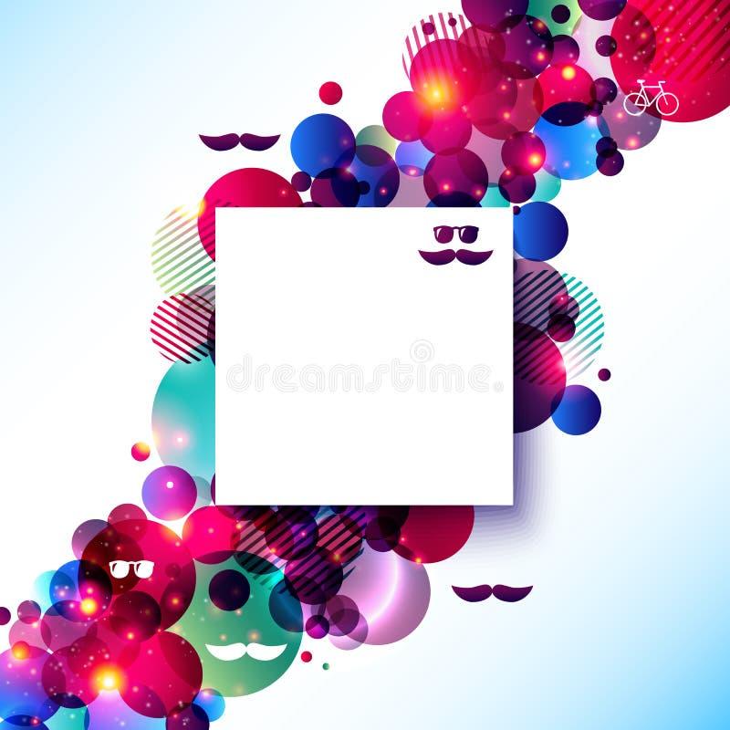 Cartel elegante del inconformista en un fondo brillante del contraste. stock de ilustración