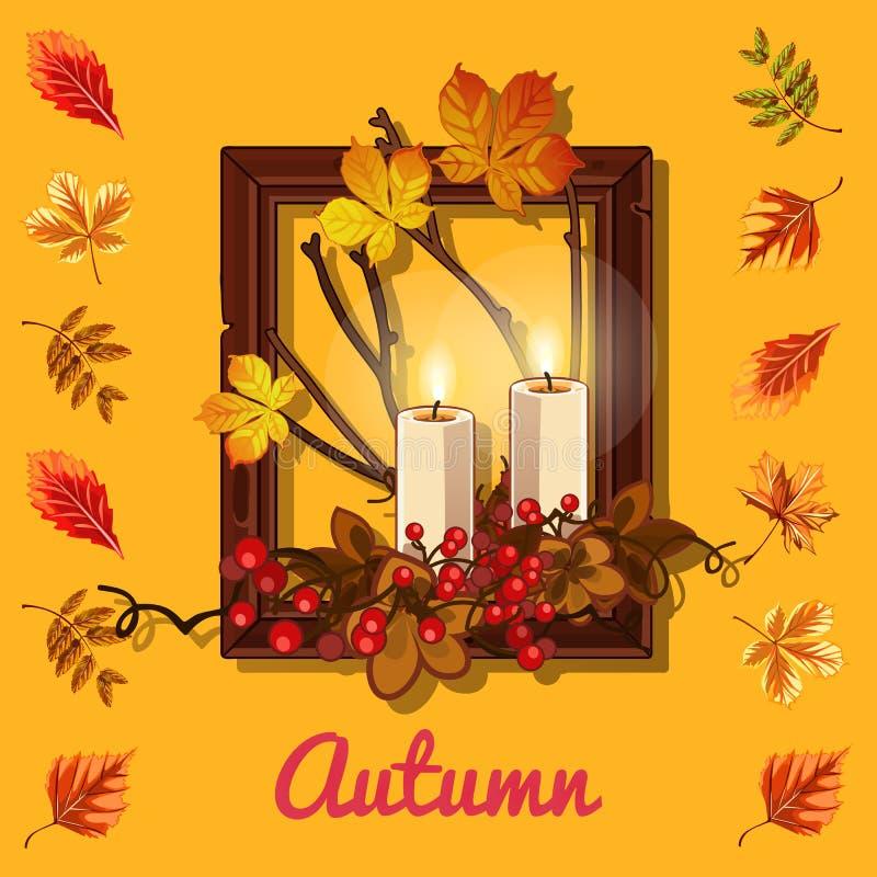Cartel elegante en el tema del otoño de oro Composición de ramitas secas y de hojas amarilleadas de los árboles en marco de mader stock de ilustración