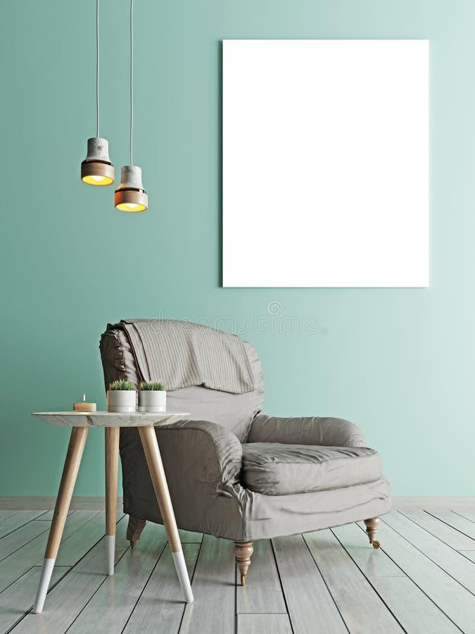 Cartel en blanco, butaca en sala de estar libre illustration