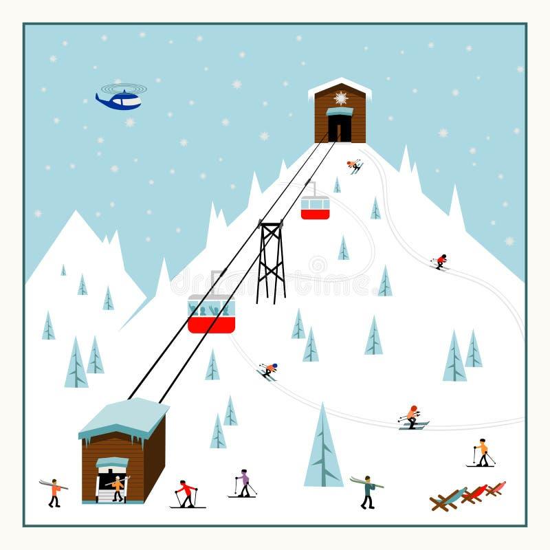 Cartel en colores pastel fresco del esquí de la historieta El centro turístico de montaña con las elevaciones, cuestas, esquiador stock de ilustración