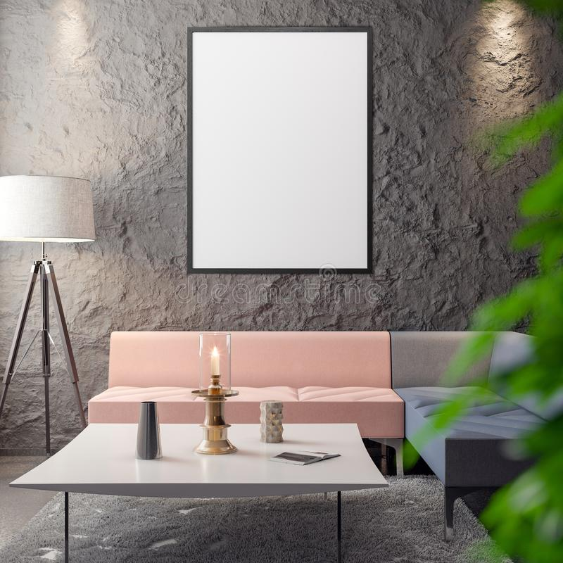 Cartel En El Interior, De La Maqueta Ejemplo 3D De Un Diseño Moderno ...