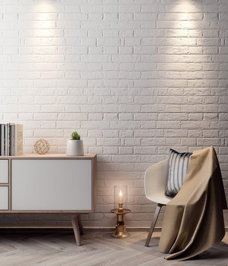 Cartel en el interior, de la maqueta ejemplo 3D de un diseño moderno con la pared de ladrillo blanca ilustración del vector