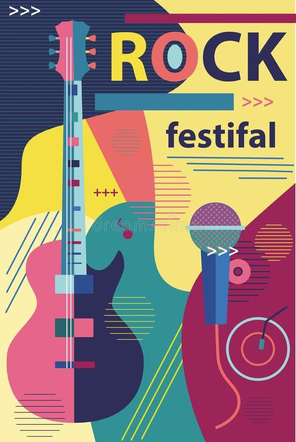 Cartel en guitarra musical del concierto de rock del estilo plano ilustración del vector