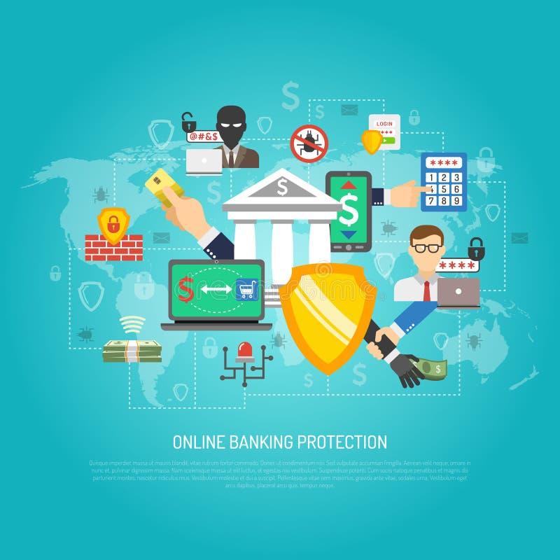 Cartel en línea del concepto de la protección de las actividades bancarias de Internet ilustración del vector