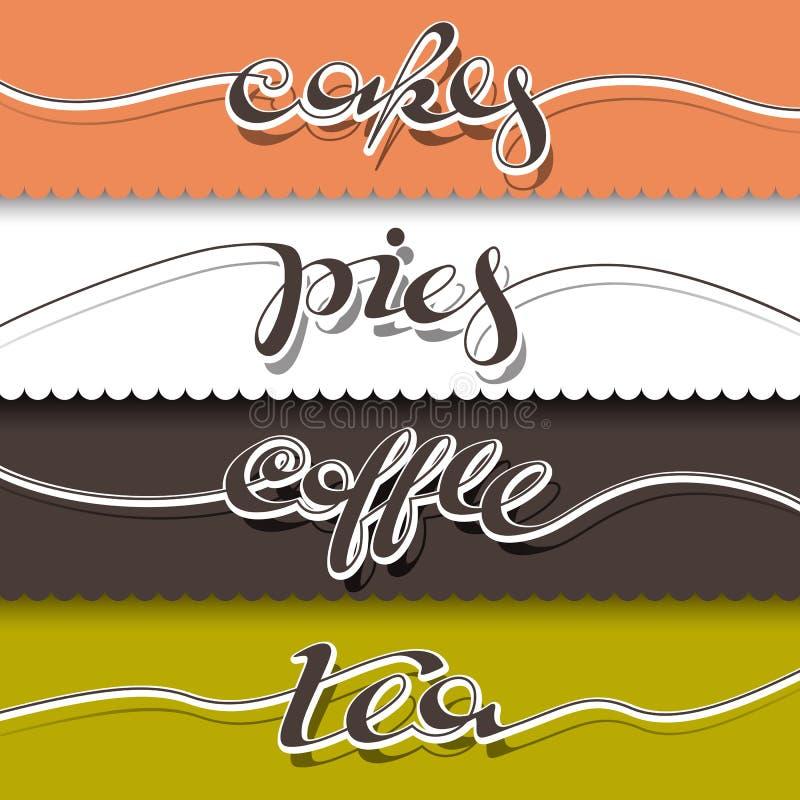 Cartel escrito mano del café stock de ilustración