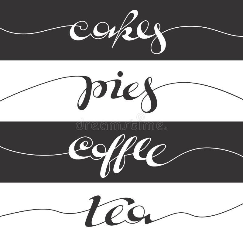 Cartel escrito mano del café ilustración del vector