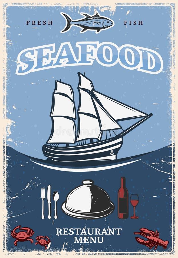 Cartel estilizado de los mariscos libre illustration