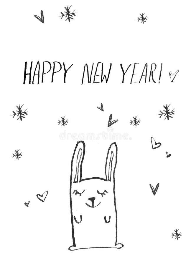 Cartel exhausto de la tarjeta de la mano de la Feliz Año Nuevo Ejemplo divertido lindo del niño del conejito la historieta hizo e ilustración del vector