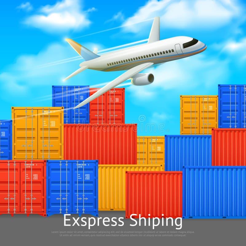 Cartel expreso del envase del buque mercante ilustración del vector
