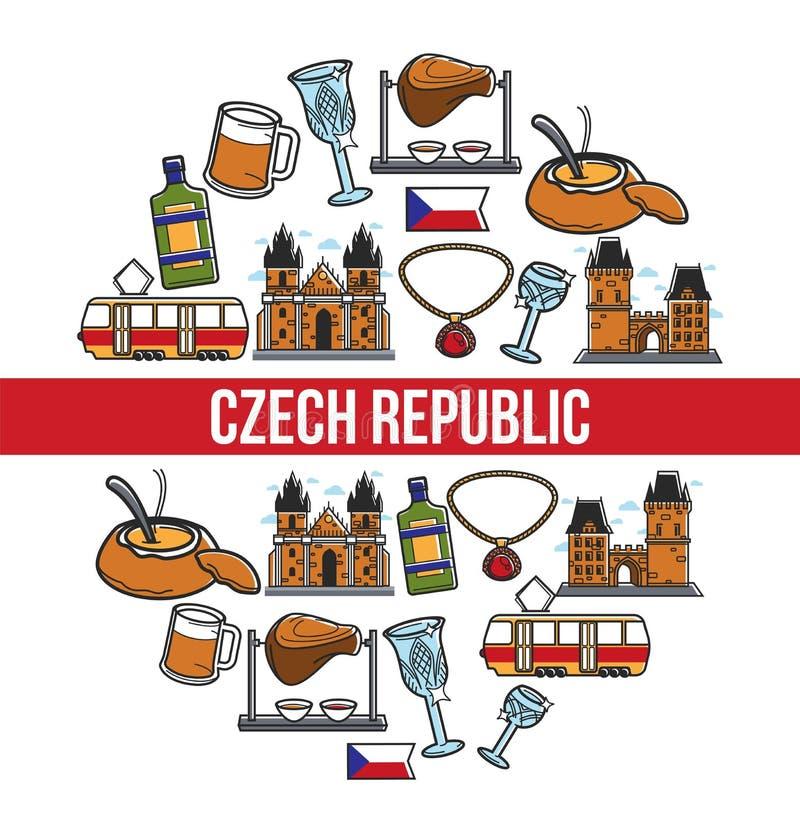 Cartel famoso del vector de las señales de la República Checa stock de ilustración