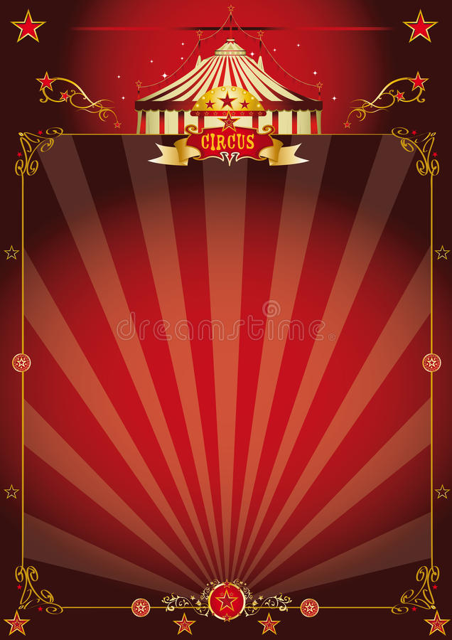 Cartel fantástico rojo mágico del circo ilustración del vector