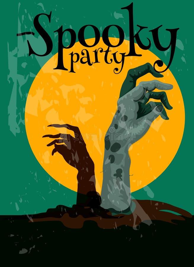 Cartel fantasmagórico de Halloween del partido del zombi libre illustration