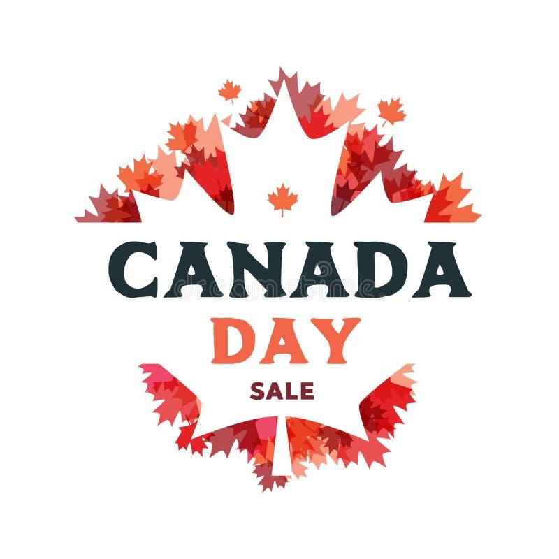 Cartel feliz de la venta del día de Canadá 1 de julio Tarjeta de felicitación del ejemplo del vector Hojas de arce de Canadá en e ilustración del vector