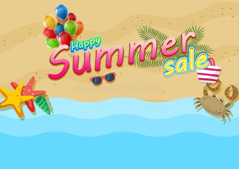 Cartel feliz de la venta del verano en fondo tropical de la playa ilustración del vector