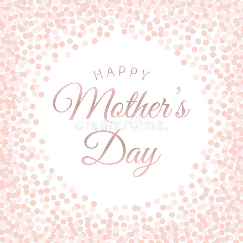 Cartel feliz de las letras del día de madre con confeti rosado del círculo ilustración del vector