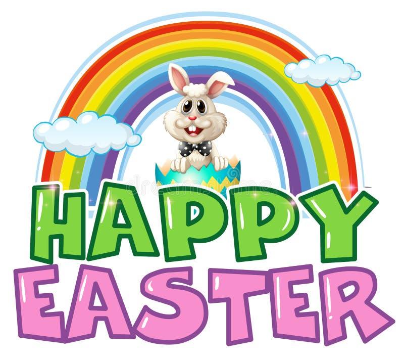 Cartel feliz de Pascua con el conejito y el arco iris ilustración del vector
