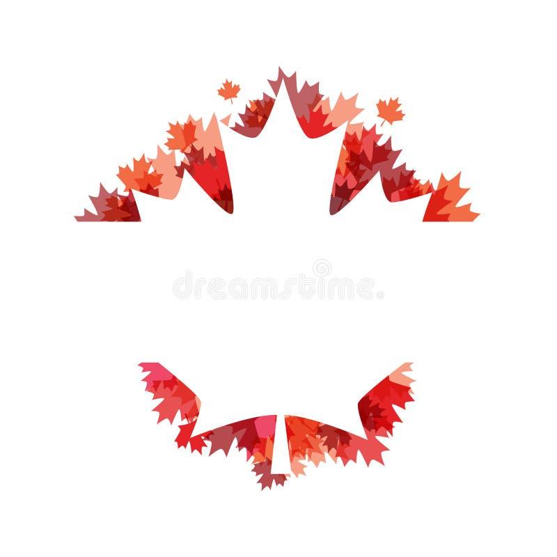 Cartel feliz del día de Canadá 1 de julio Tarjeta de felicitación del ejemplo del vector Hojas de arce de Canadá en el fondo blan libre illustration
