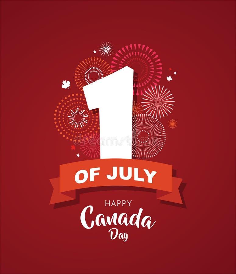 Cartel feliz del día de Canadá 1 de julio Tarjeta de felicitación del ejemplo del vector Hojas de arce de Canadá en el fondo blan stock de ilustración