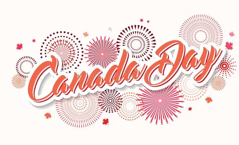 Cartel feliz del día de Canadá 1 de julio Tarjeta de felicitación del ejemplo del vector Hojas de arce de Canadá en el fondo blan ilustración del vector
