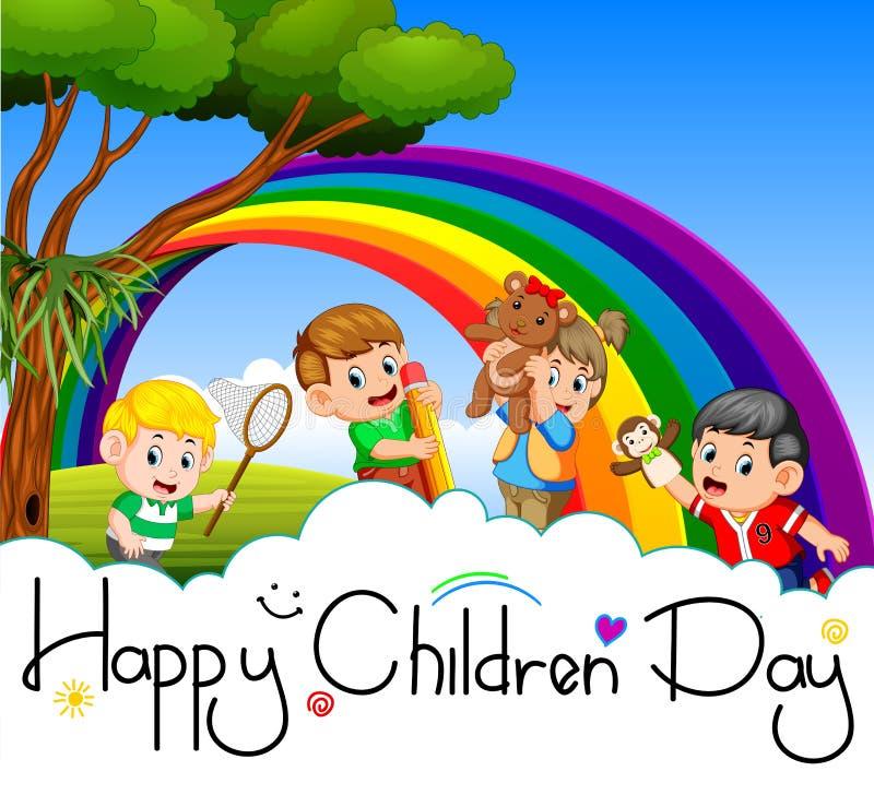 Cartel feliz del día de los niños con los niños felices que juegan en el jardín libre illustration