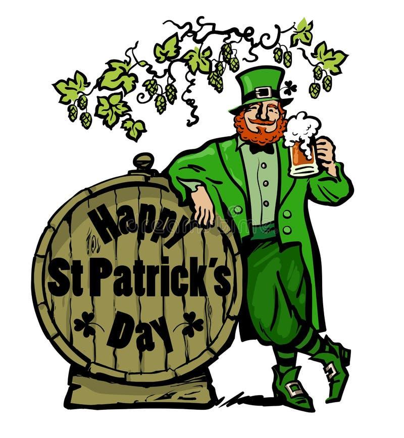 cartel feliz del día de los patricks del st Carácter del duende que sostiene la taza de cerveza que se inclina en barril con el t ilustración del vector