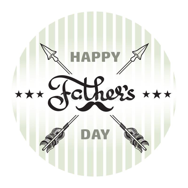 Cartel feliz del día de padres Palabra manuscrita, flecha, bigote ilustración del vector
