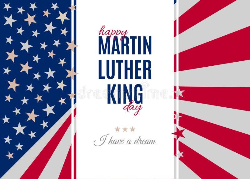 Cartel feliz del saludo de Martin Luther King Day ilustración del vector