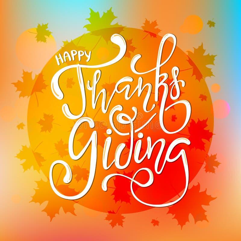 Cartel feliz dibujado mano de la tipografía de las letras de la acción de gracias Cita de la celebración en el fondo texturizado  ilustración del vector