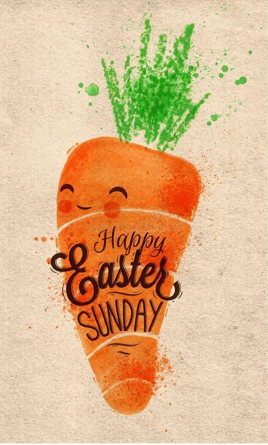 Cartel feliz Kraft de la zanahoria de pascua ilustración del vector