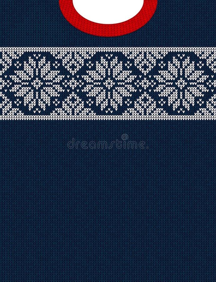 Cartel feo de la venta del invierno de la estación del suéter Ornamentos hechos punto del escandinavo del modelo del fondo stock de ilustración