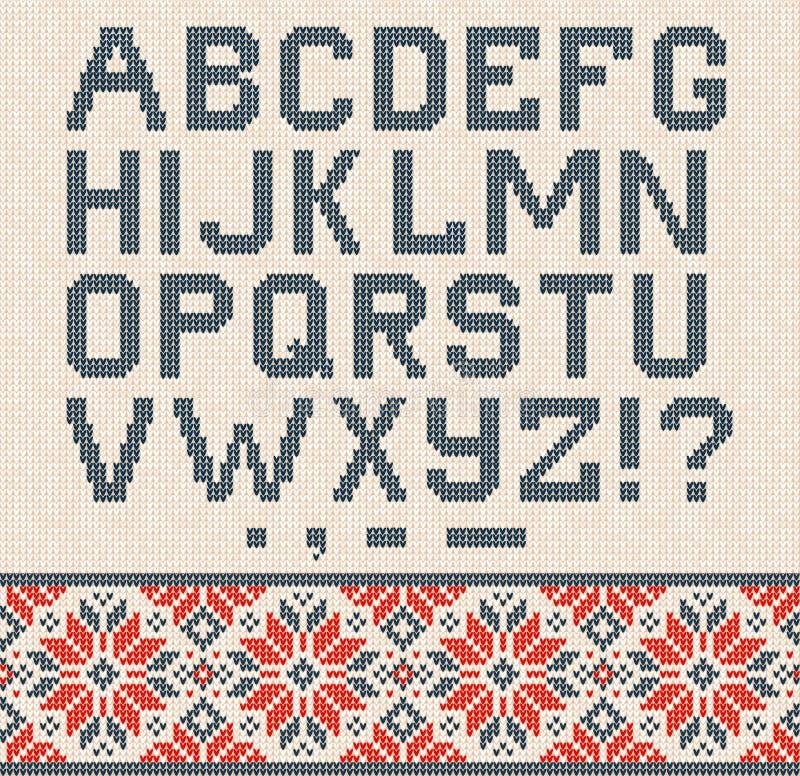 Cartel feo de la venta del invierno de la estación del suéter Ornamentos hechos punto del escandinavo del modelo del fondo libre illustration