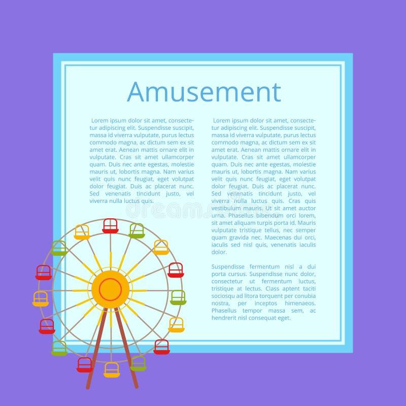 Cartel Ferris Wheel de la diversión con las cabinas del color ilustración del vector