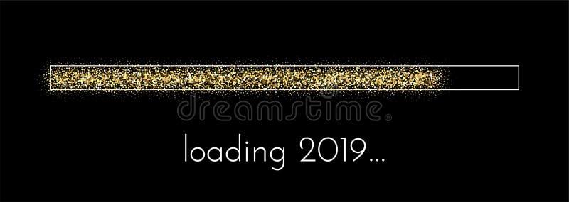 Cartel festivo creativo cargado del Año Nuevo 2019 stock de ilustración