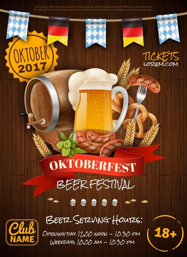 Cartel festivo de Oktoberfest ilustración del vector