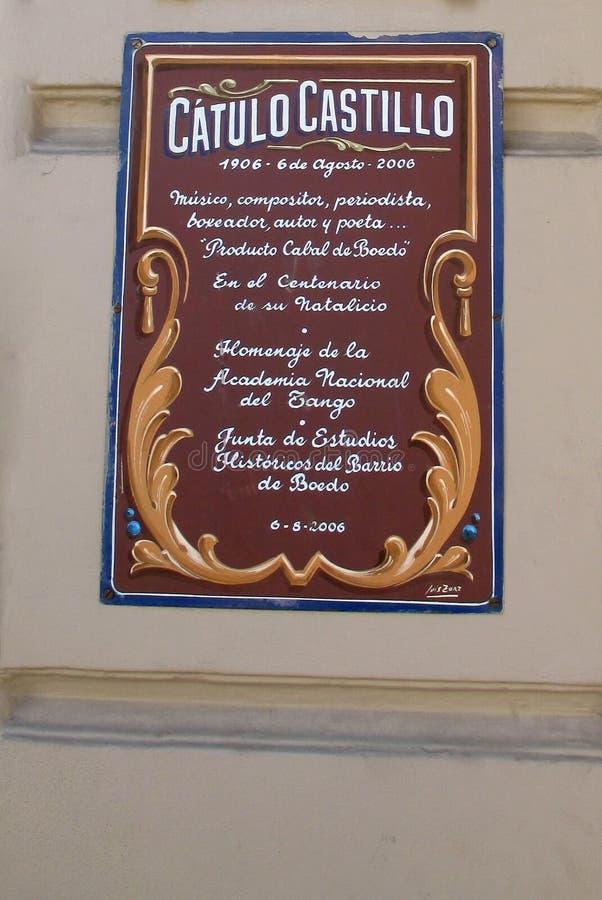 Cartel filmado en homenaje al tulo Castillo Boedo Buenos Aires la Argentina del ¡de CÃ foto de archivo libre de regalías