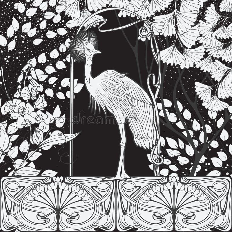 Cartel, fondo con las flores decorativas y pájaro en estilo del art nouveau Gráficos blancos y negros n stock de ilustración