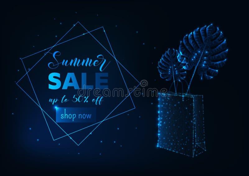 Cartel futurista de la venta del verano con el bolso que hace compras polivinílico bajo que brilla intensamente y las hojas tropi ilustración del vector