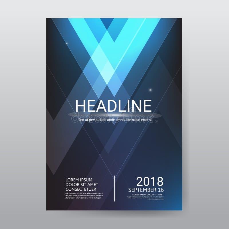 Cartel futurista del folleto del triángulo abstracto, plantilla de tamaño a4, cartel del informe anual del aviador de la presenta ilustración del vector
