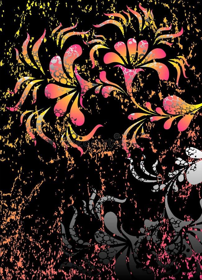 Cartel gótico con las flores stock de ilustración