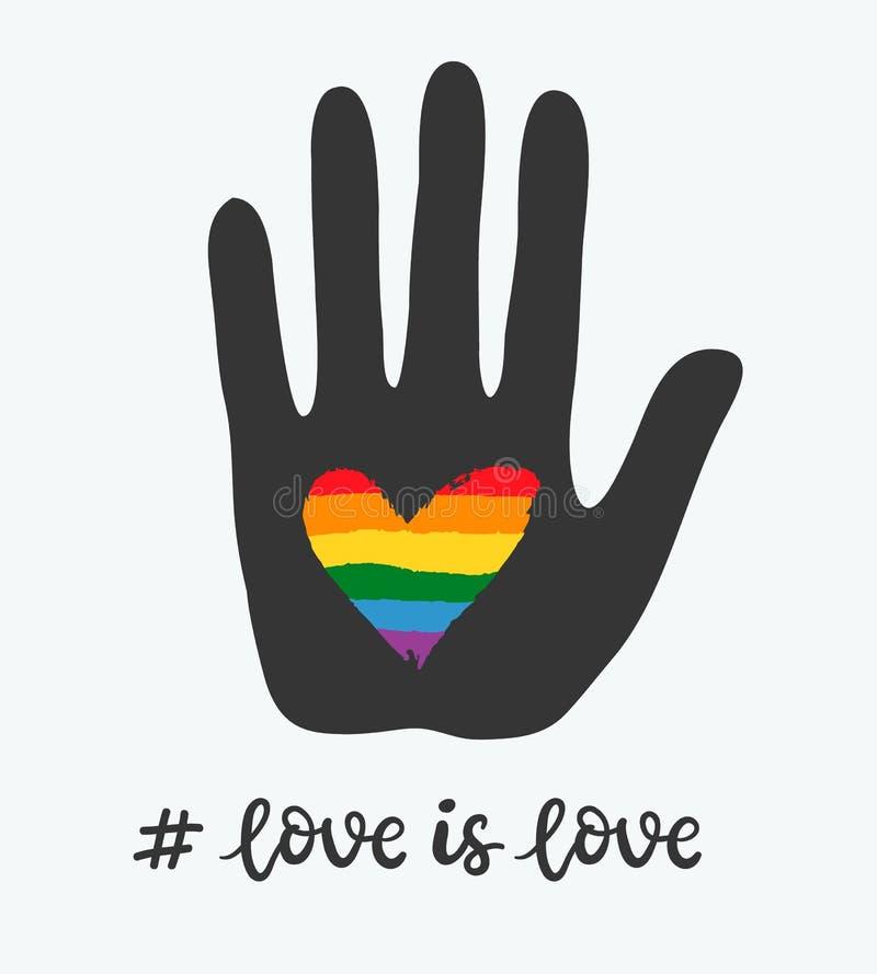 Cartel gay con el corazón del arco iris a disposición LGBT endereza concepto ilustración del vector