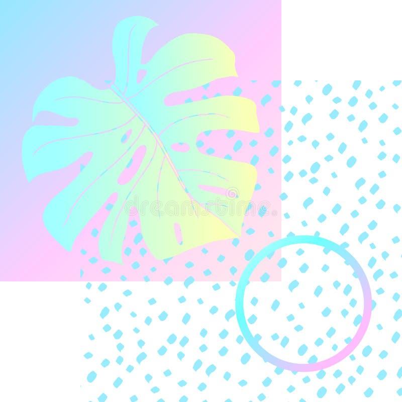 Cartel geométrico Monstera Memphis en vaporwave ilustración del vector