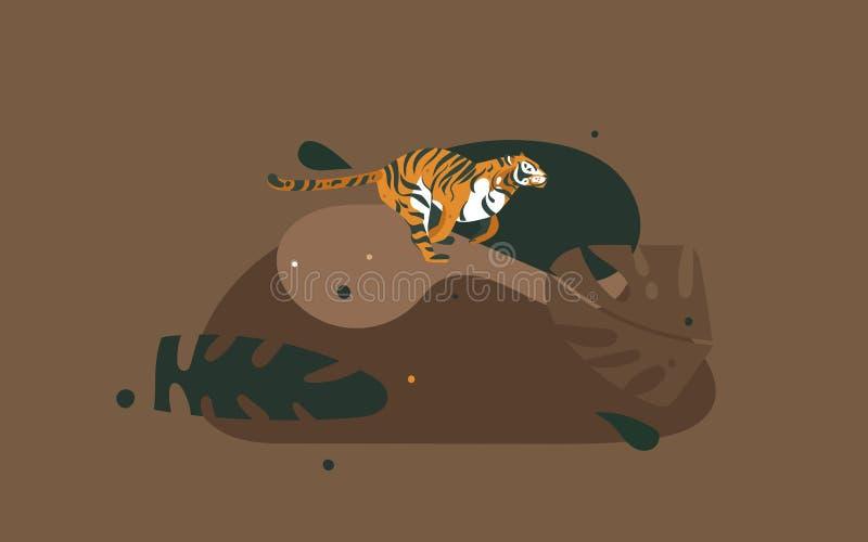 Cartel gráfico moderno del arte de los ejemplos del collage del concepto de Safari Nature del africano del vector de la mano de l libre illustration