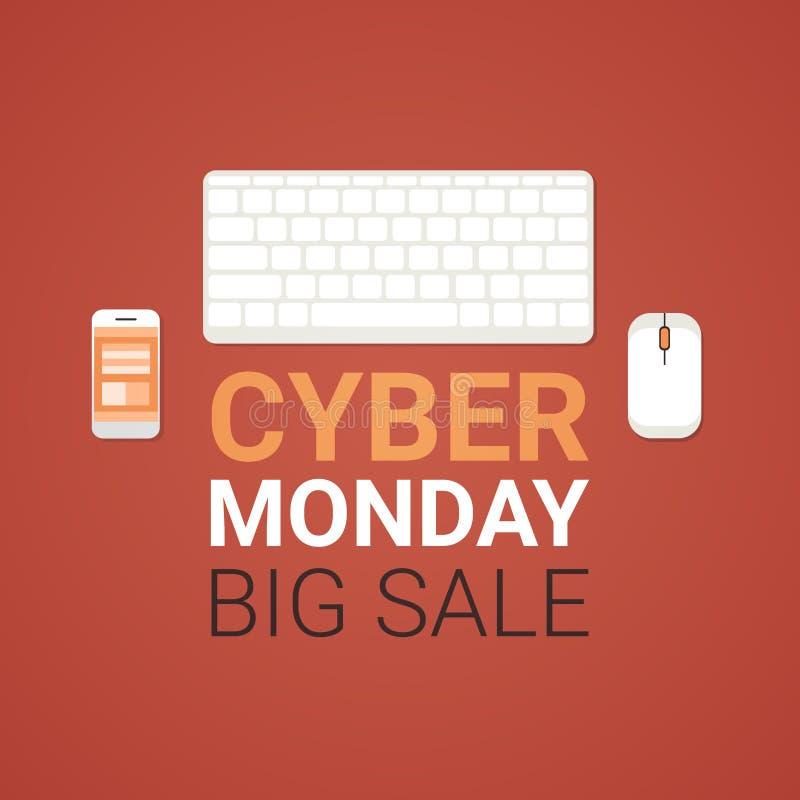 Cartel grande cibernético de la venta de lunes con el ratón del ordenador, teclado stock de ilustración