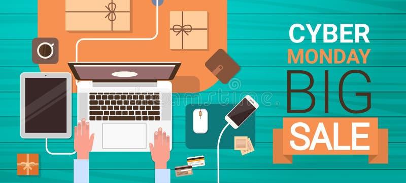 Cartel grande cibernético de la venta de lunes con las manos que mecanografían en el ordenador portátil stock de ilustración