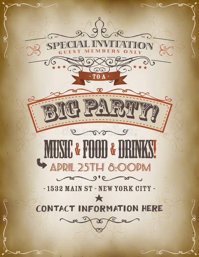 Cartel grande de la invitación del partido del vintage ilustración del vector