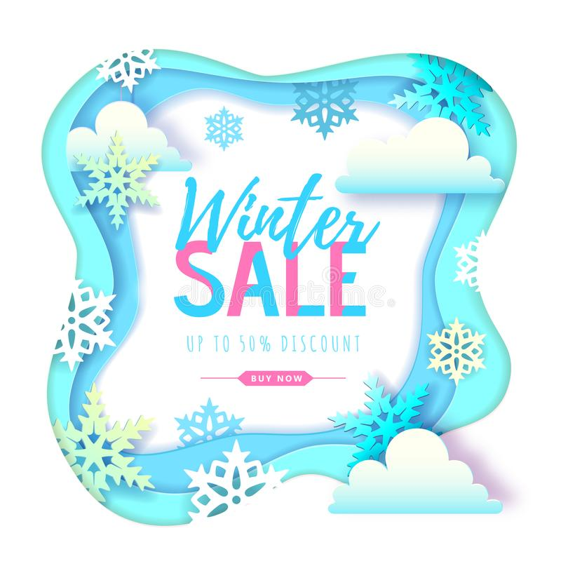 Cartel grande de la tipografía de la venta del invierno con los copos de nieve y las nubes Dise?o cortado del estilo del arte del stock de ilustración