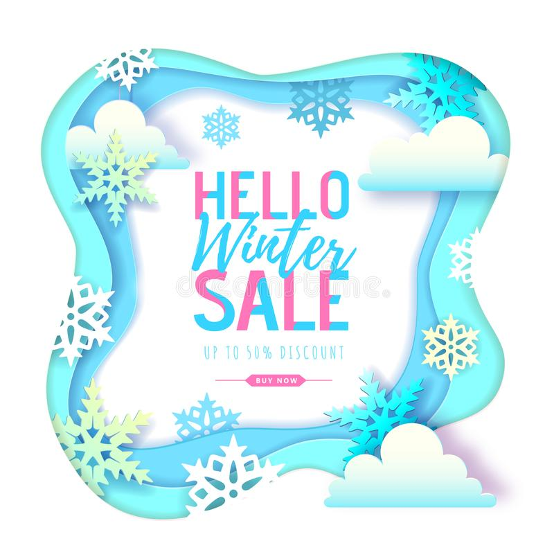 Cartel grande de la tipografía de la venta del invierno con los copos de nieve y las nubes Dise?o cortado del estilo del arte del ilustración del vector